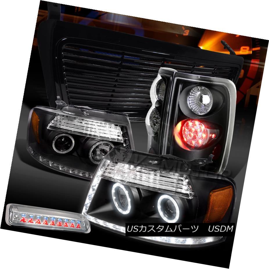テールライト 04-08 F150 Black Halo Projector Headlights+LED Tail 3rd Brake Lamp+Billet Grille 04-08 F150ブラックハロープロジェクターヘッドライト+ LEDテール第3ブレーキランプ+ビレットグリル