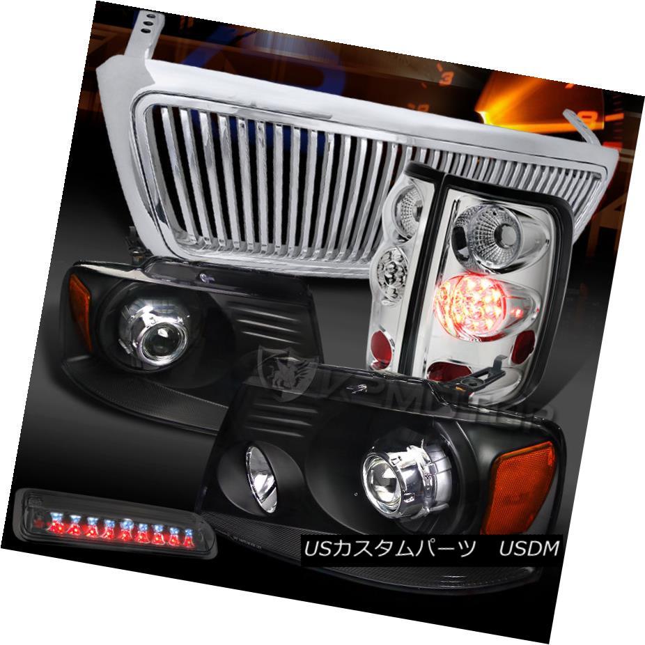 テールライト 04-08 F150 Black Projector Headlights+Chrome Vertical Grille+LED Tail Tint Brake 04-08 F150ブラックプロジェクターヘッドライト+ Chr ome垂直グリル+ LEDテールティントブレーキ