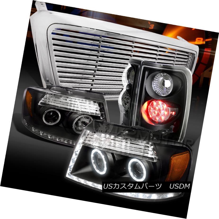 テールライト 04-08 F150 Black Halo Projector Headlights+LED Tail Lamps+Chrome Billet Grille 04-08 F150ブラックハロープロジェクターヘッドライト+ LEDテールランプ+クロムビレットグリル