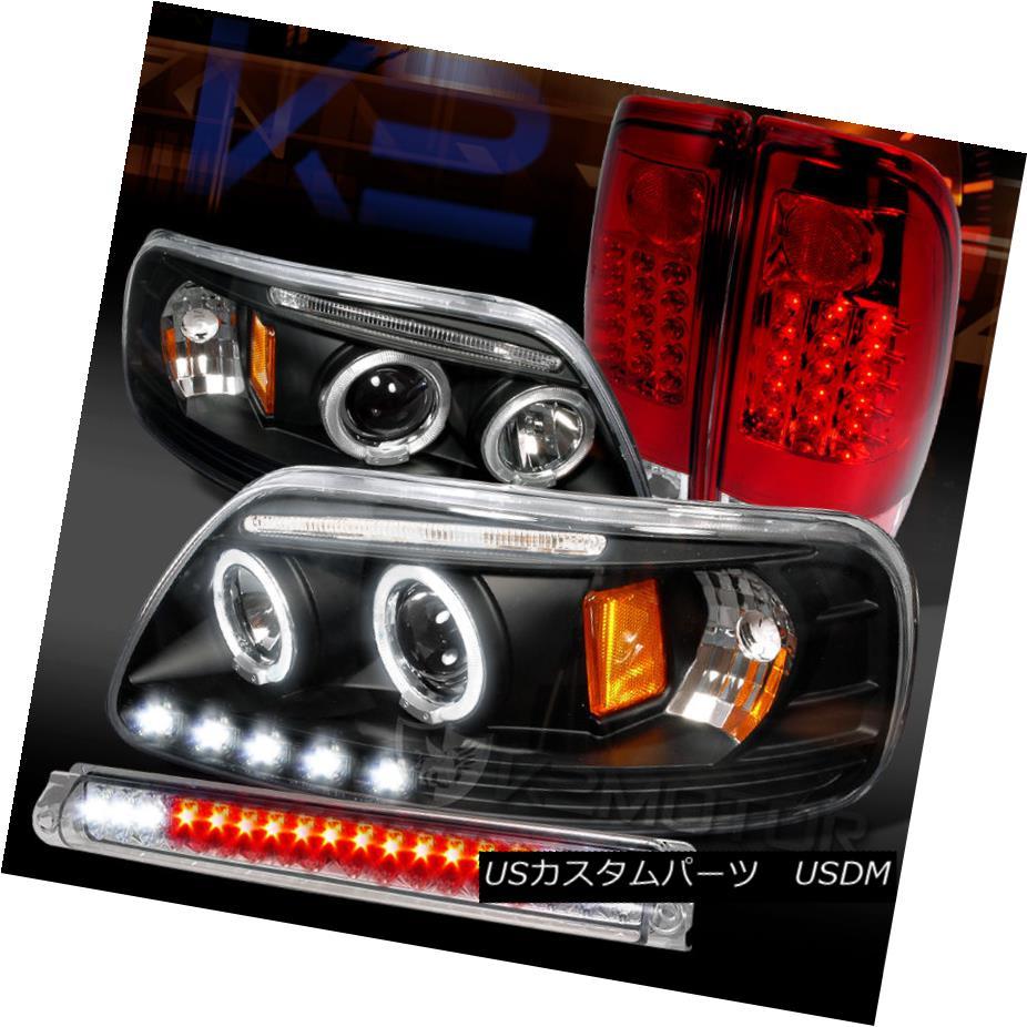 テールライト 97-03 F150 Black Halo Projector Headlights+Red Tail Lamps+Clear LED 3rd Brake 97-03 F150ブラックハロープロジェクターヘッドライト+レッドテールランプ+クリアLED第3ブレーキ