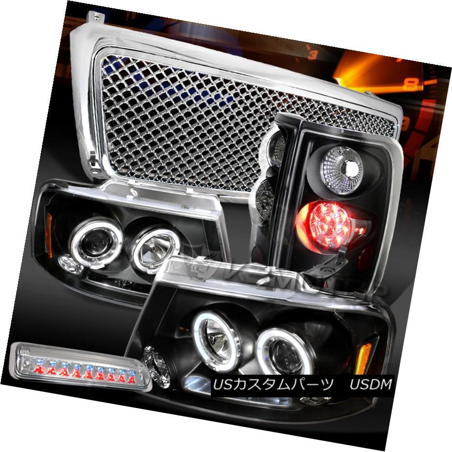 テールライト 04-08 F150 Black Halo Headlights+LED Tail Lamps+Clear LED 3rd Stop+Hood Grille 04-08 F150ブラックハローヘッドライト+ LEDテールランプ+クリアLED第3ストップ+フードグリル