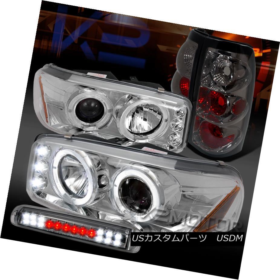 テールライト 04-06 Sierra Chrome Halo Projector Headlight+Smoke Tail Lamps+LED 3rd Brake 04-06シエラクロームハロープロジェクターヘッドライト+スモーク eテールランプ+ LED第3ブレーキ