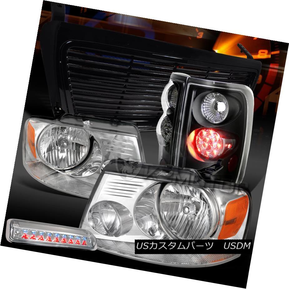 テールライト 04-08 F150 Chrome Headlights+3rd Brake+Black LED Tail Lamps+Billet Hood Grille 04-08 F150クロームヘッドライト+第3ブレーキ+ブラックLEDテールランプ+ビレットフードグリル