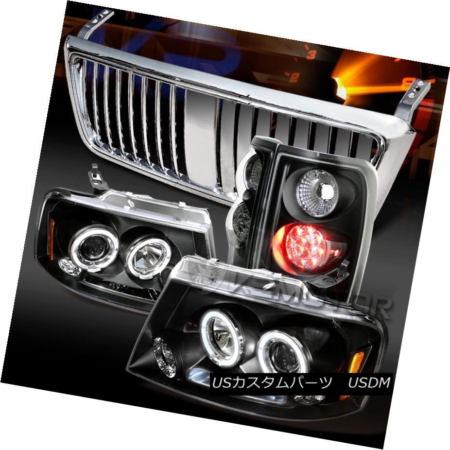テールライト 04-08 F150 Black Dual Halo Projector Headlights+LED Tail Lamps+Chrome Grille 04-08 F150ブラックデュアルハロープロジェクターヘッドライト+ LEDテールランプ+クロームグリル