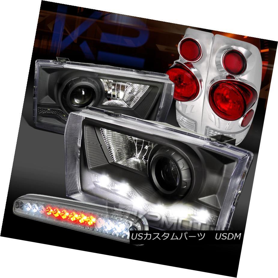 テールライト 99-04 F250 SD Black SMD DRL Projector Headlights+Clear Tail LED 3rd Brake Lamps 99-04 F250 SDブラックSMD DRLプロジェクターヘッドライト+ Cle arテールLED第3ブレーキランプ