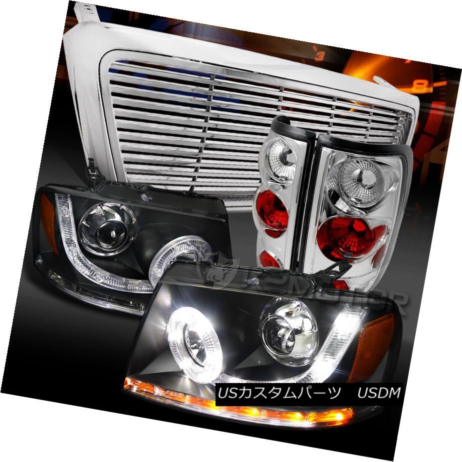 テールライト 04-08 F150 Black SMD LED Projector Headlights+Chrome Billet Grille+Tail Lamps 04-08 F150ブラックSMD LEDプロジェクターヘッドライト+ Chr omeビレットグリル+テールランプ