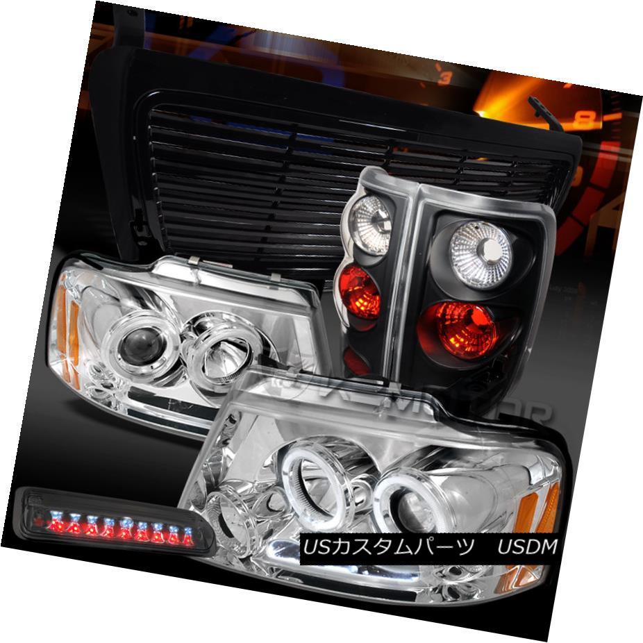 テールライト 04-08 F150 Clear LED Projector Headlights+Smoke 3rd Brake+Black Tail Lamp+Grille 04-08 F150クリアプロジェクターヘッドライト+スモール ke 3rdブレーキ+ブラックテールランプ+グリル