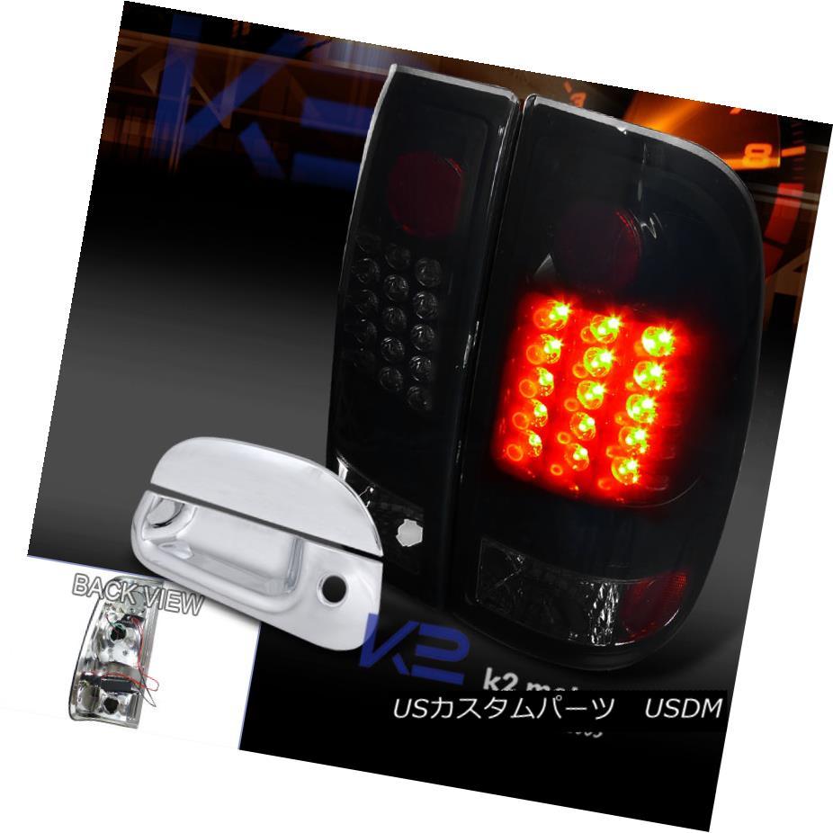 テールライト 97-03 F150 Style Side Piano Black Smoke LED Tail Lights+Tailgate Handle Cover 97-03 F150スタイルサイドピアノブラックスモークLEDテールライト+テールゲート eハンドルカバー