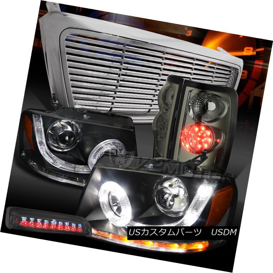テールライト 04-08 F150 Black SMD Projector Headlights+Grille+Smoke LED Tail 3rd Brake Lamps 04-08 F150ブラックSMDプロジェクターヘッドライト+グリル lle +スモークLEDテール第3ブレーキランプ