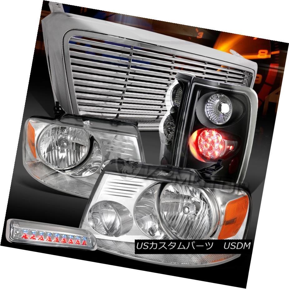 テールライト 04-08 F150 Chrome Headlights+Grille+LED 3rd Brake+Black LED Tail Lamps 04-08 F150クロームヘッドライト+グリップ lle + LED第3ブレーキ+ブラックLEDテールランプ