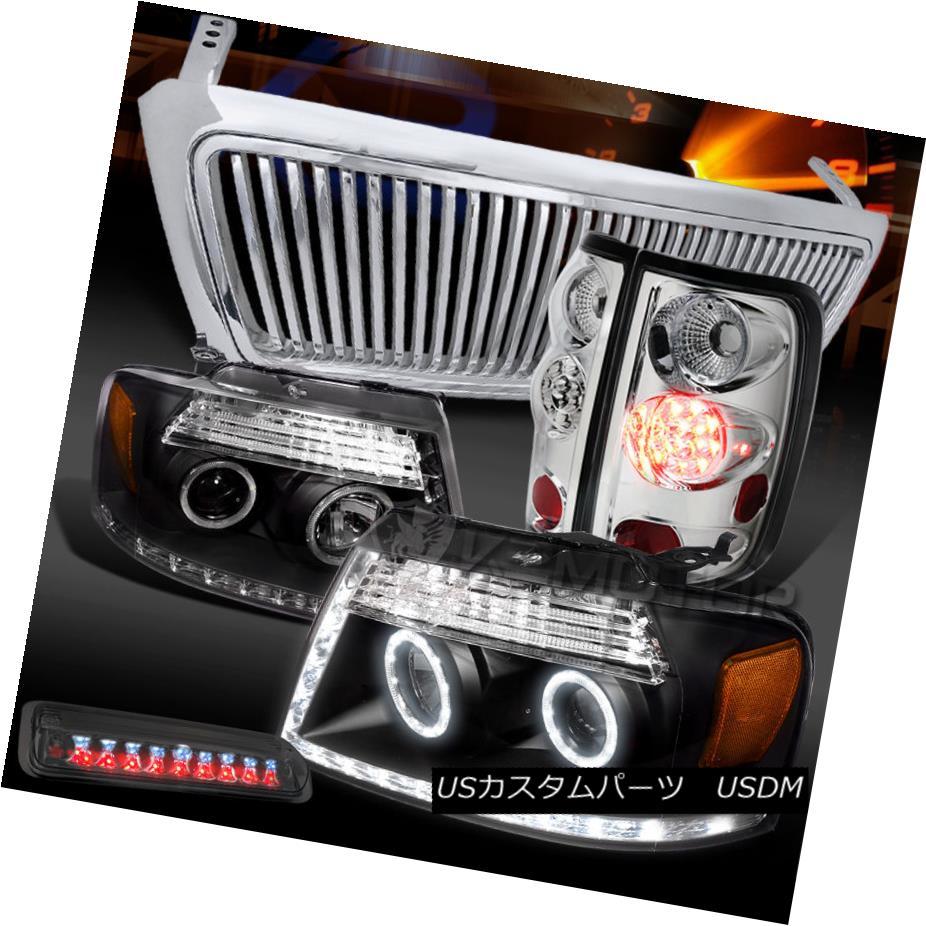テールライト 04-08 F150 Black LED Headlight+Chrome Vertical Grille+LED Tail Tint 3rd Brake 04-08 F150ブラックLEDヘッドライト+クロ me垂直グリル+ LEDテールティント第3ブレーキ