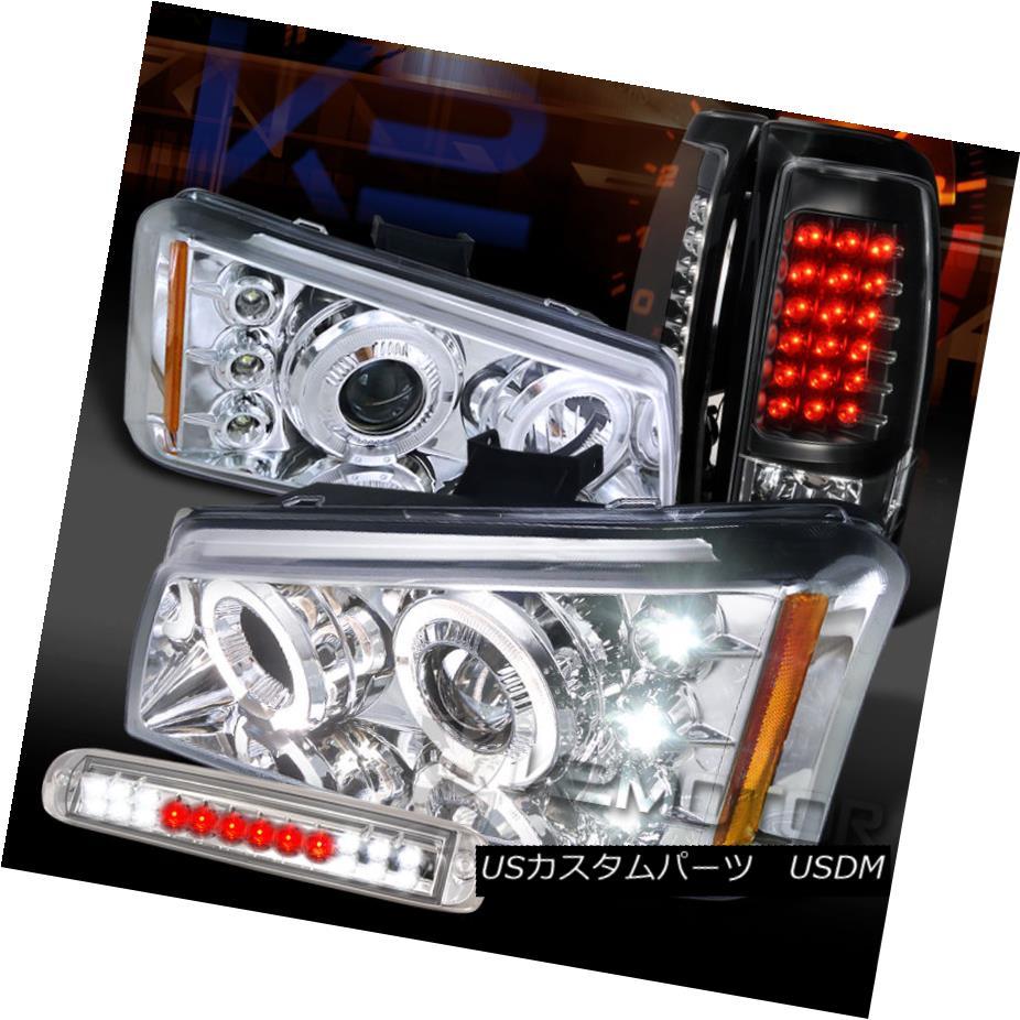 テールライト 03-06 Silverado Clear Halo Projector Headlight+LED 3rd Stop+Black LED Tail Lamps 03-06 Silverado Clear Haloプロジェクターヘッドライト+ LED 3ストップ+ブラックLEDテールランプ