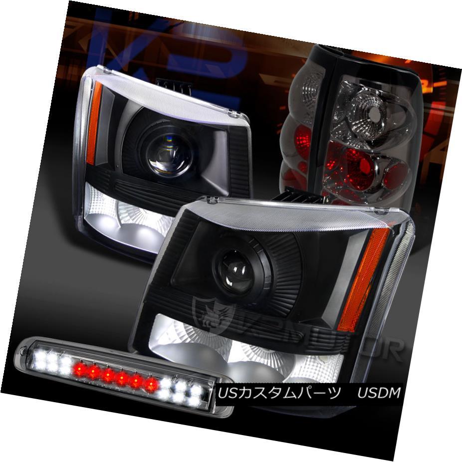 テールライト 03-06 Silverado Black Projector Headlights+Smoke Tail LED 3rd Brake Lamps 03-06 Silverado Blackプロジェクターヘッドライト+ Smo keテールLED第3ブレーキランプ