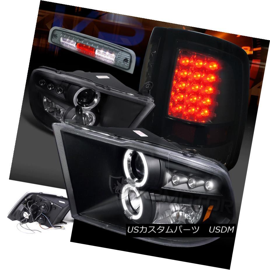 テールライト 09-13 Ram Projector Headlights+Glossy Black Tail Lights+Smoke LED 3rd Brake Lamp 09-13ラムプロジェクターヘッドライト+グロー ssyブラックテールライト+スモークLED第3ブレーキランプ