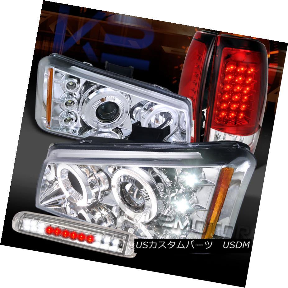 テールライト 03-06 Silverado Clear Halo Projector Headlight+LED 3rd Stop+Red LED Tail Lamps 03-06 Silverado Clear Haloプロジェクターヘッドライト+ LED第3ストップ+レッドLEDテールランプ