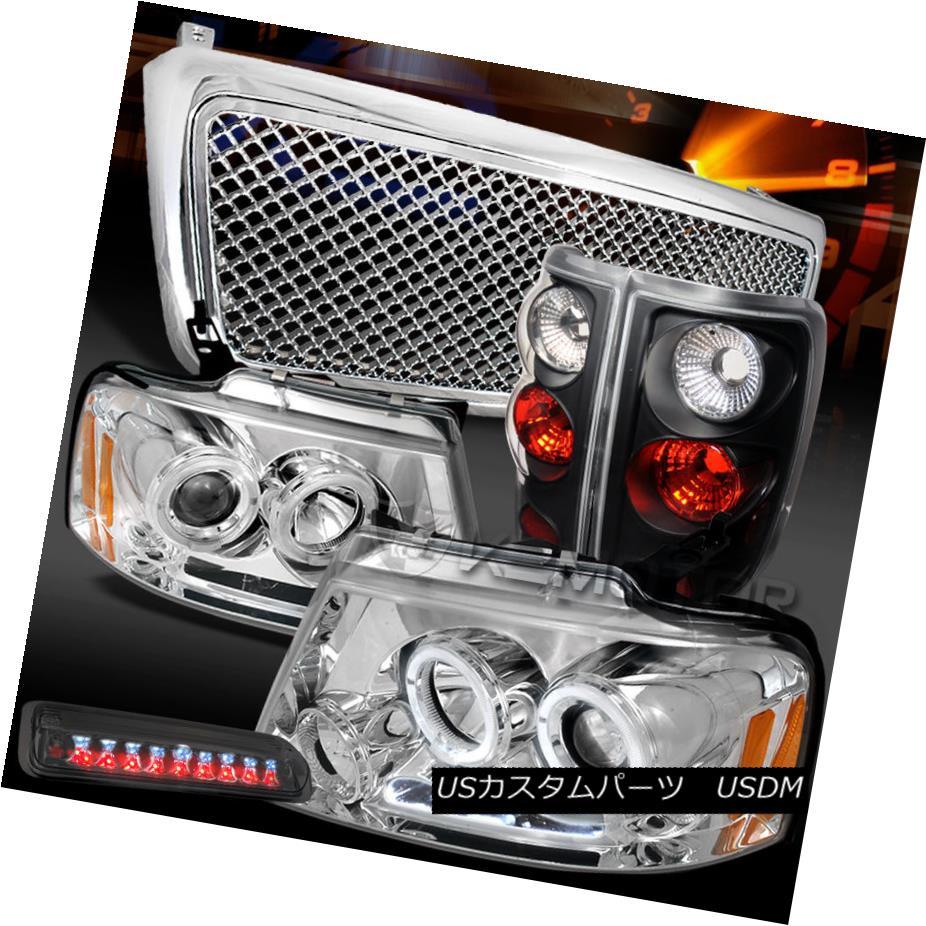 テールライト 04-08 F150 Chrome Halo Headlights+Mesh Grille+Tint LED 3rd Stop+Black Tail Lamps 04-08 F150クロームハローヘッドライト+メス hグリル+ティントLED第3ストップ+ブラックテールランプ