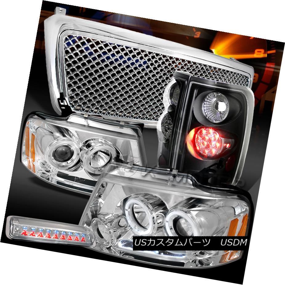 テールライト 04-08 F150 Chrome Halo Headlights+Hood Grille+LED 3rd Stop+Black LED Tail Lamps 04-08 F150クロームハローヘッドライト+ Hoo dグリル+ LED第3ストップ+ブラックLEDテールランプ
