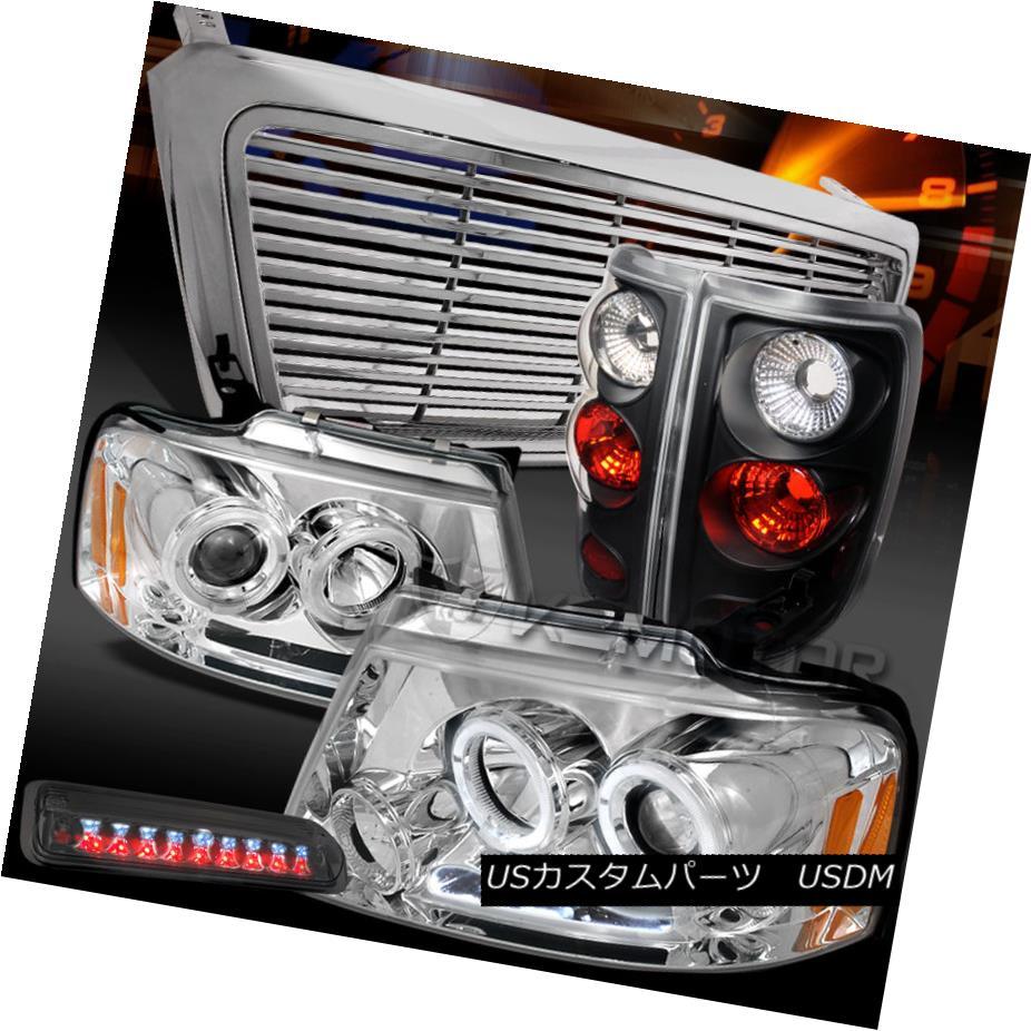 テールライト 04-08 F150 Clear Halo Projector Headlight+Grill+Black Tail Tint LED 3rd Lamps 04-08 F150クリアハロープロジェクターヘッドライト+グリル l +ブラックテールティントLED第3ランプ