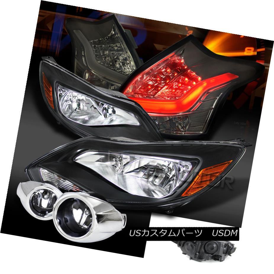 テールライト 12-14 Focus S SE Black Amber Headlights+Clear Fog Lamps+Smoke LED Tail Lights 12-14フォーカスS SEブラックオレンジ色のヘッドライト+ Cle arフォグランプ+スモークLEDテールライト