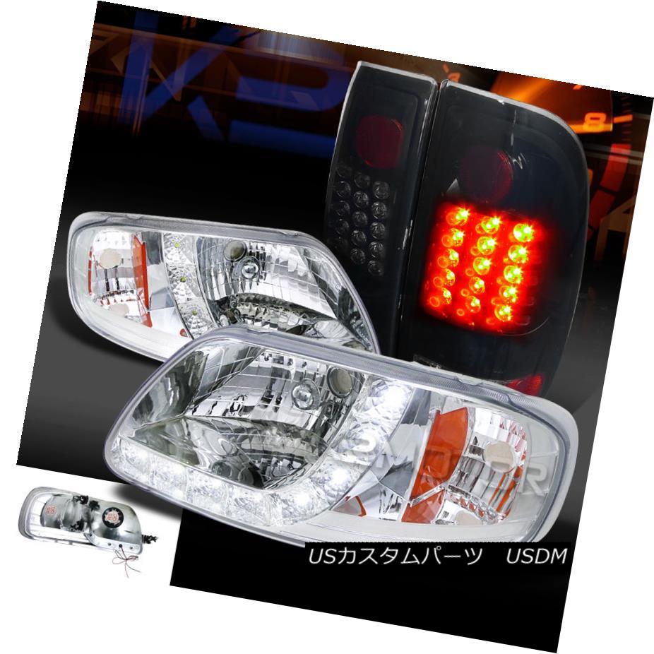 テールライト 97-03 F150 Styleside Chrome SMD DRL Headlights+Glossy Black LED Tail Lamps 97-03 F150 Styleside Chrome SMD DRLヘッドライト+グロー ssyブラックLEDテールランプ