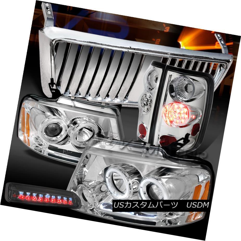テールライト 04-08 F150 Chrome Halo DRL Headlights+Front Grille+LED Tail Smoke 3rd Stop Lamps 04-08 F150クロームハローDRLヘッドライト+ ntグリル+ LEDテールスモーク3ストップランプ
