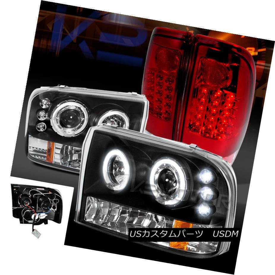 テールライト 99-04 F250/350 Super Duty Black Halo Projector Headlights+Red LED Tail Lamps 99-04 F250 / 350スーパーデューティーブラックハロープロジェクターヘッドライト+レッドLEDテールランプ