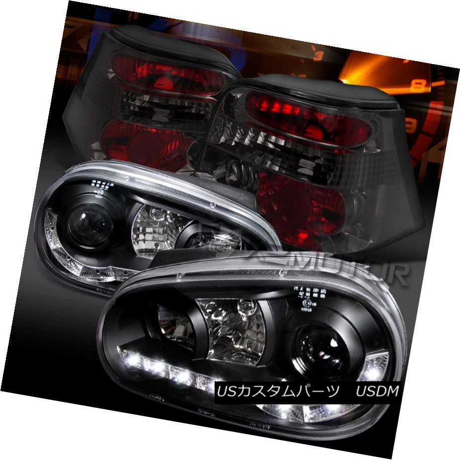 テールライト Fit 99-06 Golf Black LED DRL Strip Projector Headlights+Smoke Tail Lamps フィット99-06ゴルフブラックLED DRLストリッププロジェクターヘッドライト+スモール keテールランプ