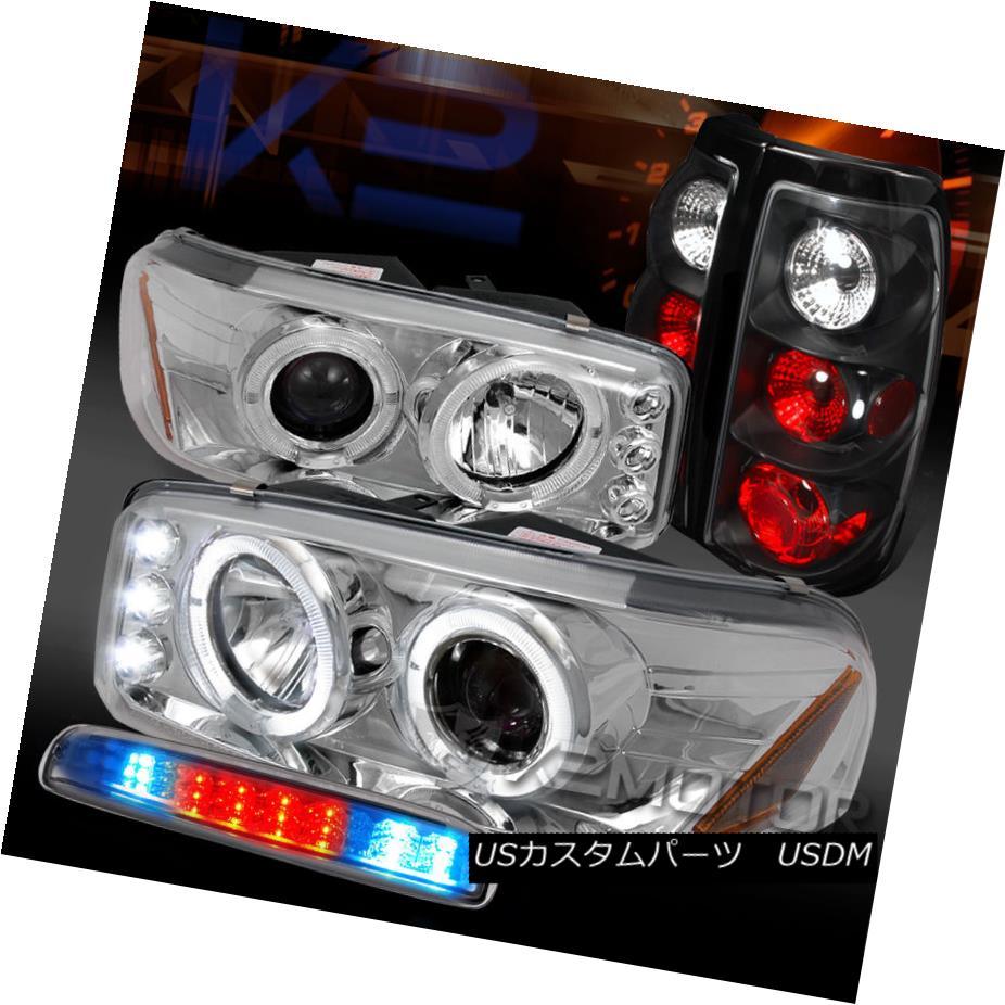テールライト GMC 99-03 Sierra Chrome Projector Headlights+LED 3rd Brake+Black Tail Lamps GMC 99-03シエラクロームプロジェクターヘッドライト+ LED第3ブレーキ+ブラックテールランプ