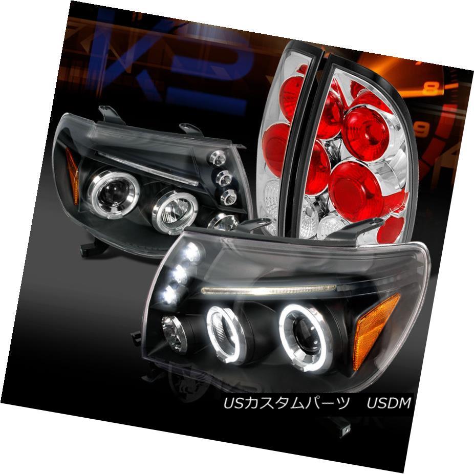 テールライト 05-08 Tacoma Black LED Halo Projector Headlights+Clear Altezza Tail Lamps 05-08タコマブラックLEDハロープロジェクターヘッドライト+ Cle ar Altezzaテールランプ