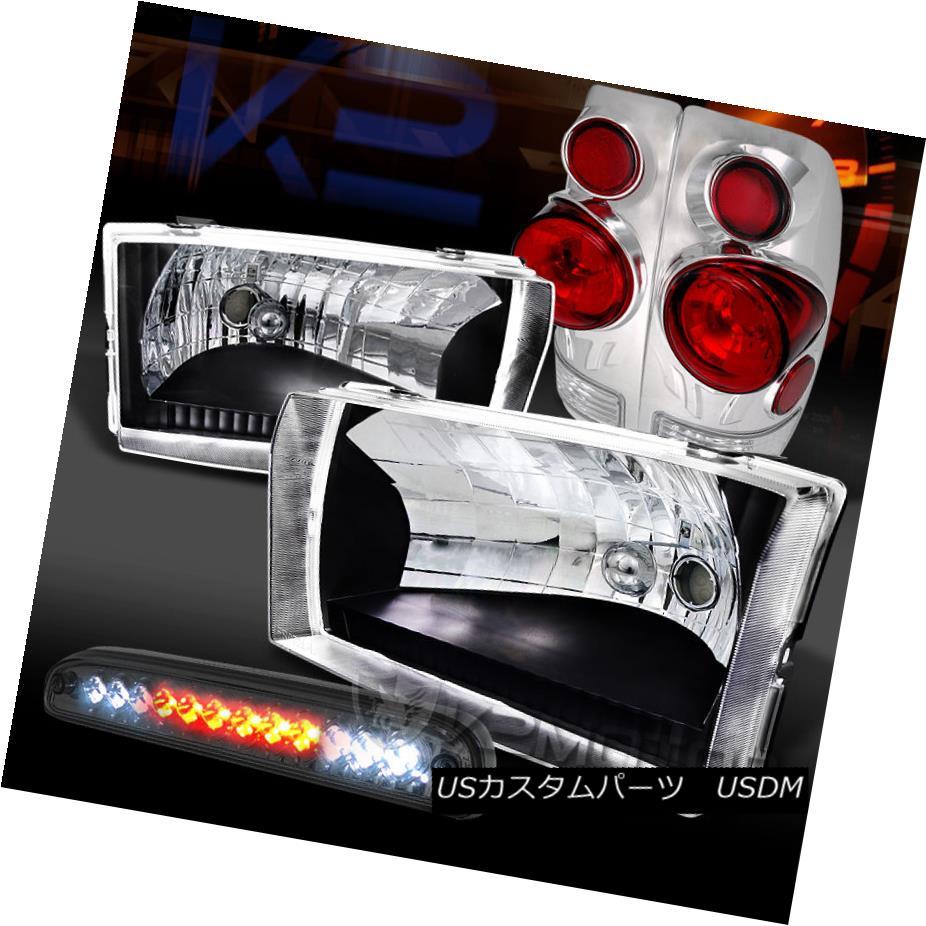 テールライト 99-04 Ford F250/350/450 Black Headlights+3D Tail Lamps+Smoke LED 3rd Brake 99-04 Ford F250 / 350/450ブラックヘッドライト+ 3Dテールランプ+ Smoke LED 3rdブレーキ