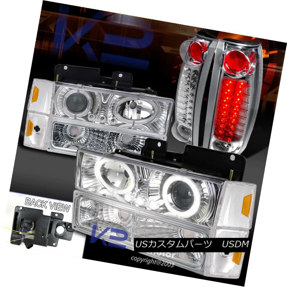 テールライト 88-93 C10 C/K Silverado Halo Projector Headlights+Signal Bumper+LED Tail Lights 88-93 C10 C / K Silverado Haloプロジェクターヘッドライト+ Sig ナルバンパー+ LEDテールライト