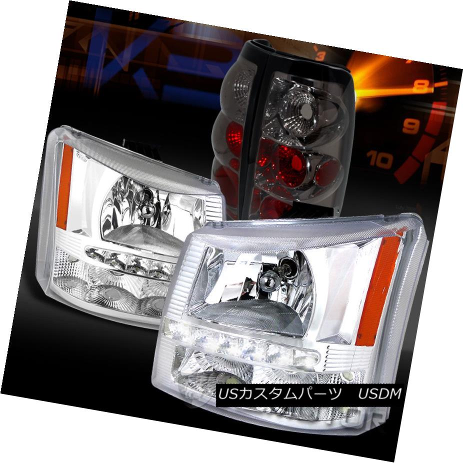 テールライト 03-06 Silverado 1500 Clear SMD LED DRL Headlights Bumper Lamp+Smoke Tail Lights 03-06 Silverado 1500クリアSMD LED DRLヘッドライトバンパーランプ+煙テールライト