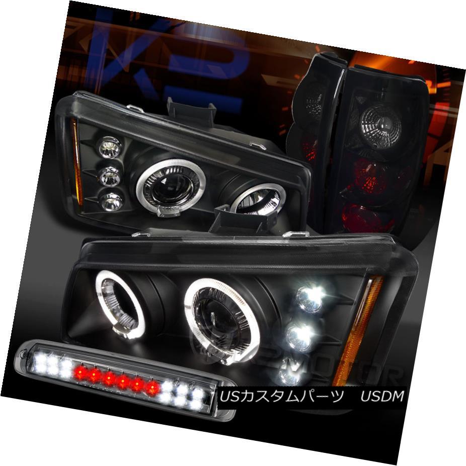 テールライト 03-06 Silverado Halo Projector Headlights+Smoke 3rd Stop Piano Black Tail Lamps 03-06 Silverado Haloプロジェクターヘッドライト+ Smo ke 3rd stopピアノブラックテールランプ
