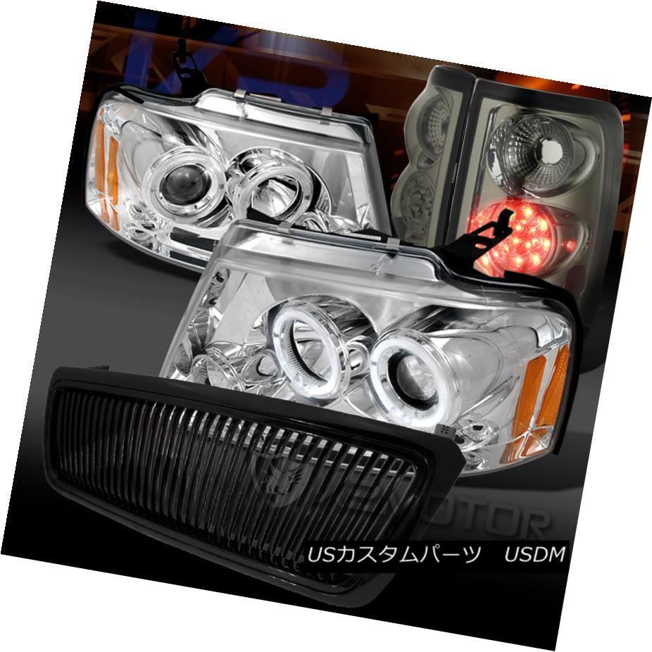 テールライト 04-08 F150 Chrome Halo LED Projector Headlights+Smoke LED Tail Lamp+Black Grille 04-08 F150クロームハローLEDプロジェクターヘッドライト+スモール ke LEDテールランプ+ブラックグリル
