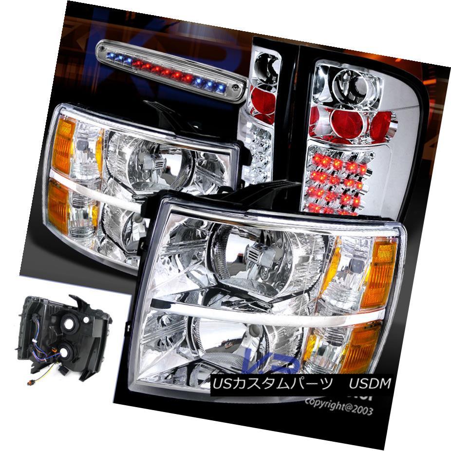 テールライト 07-12 Silverado 1500/2500/3500 Chrome Headlights+LED Tail Rear 3rd Brake Lamp 07-12 Silverado 1500/2500/3500クロームヘッドライト+ LEDテールリア第3ブレーキランプ