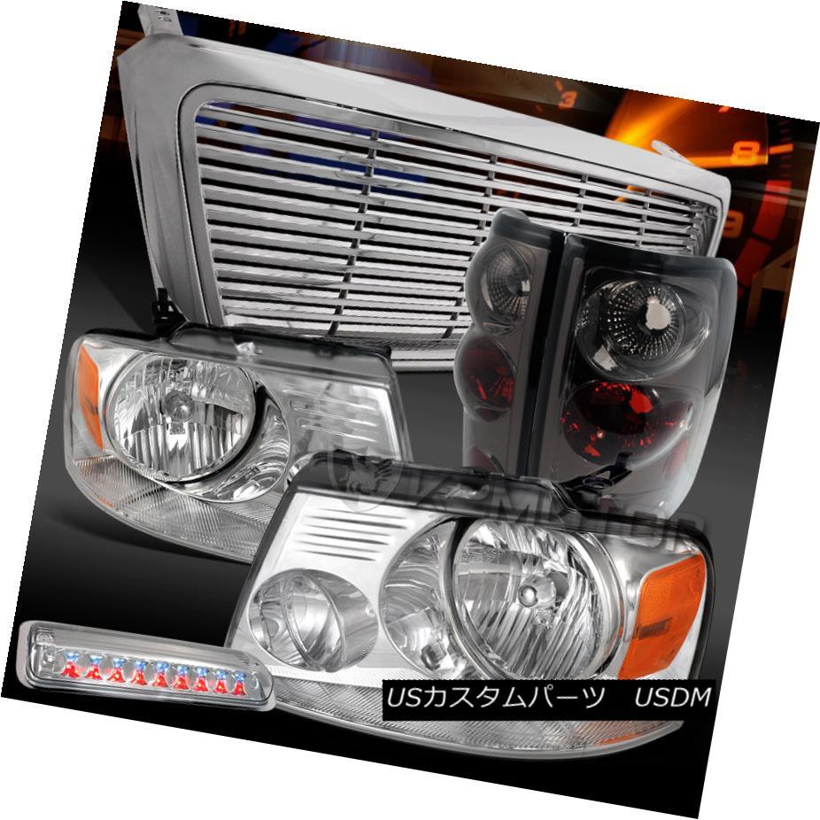 テールライト 04-08 F150 Chrome Headlights+Grille+LED 3rd Brake+Smoke Tail Lamps 04-08 F150クロームヘッドライト+グリル lle + LED第3ブレーキ+煙テールランプ