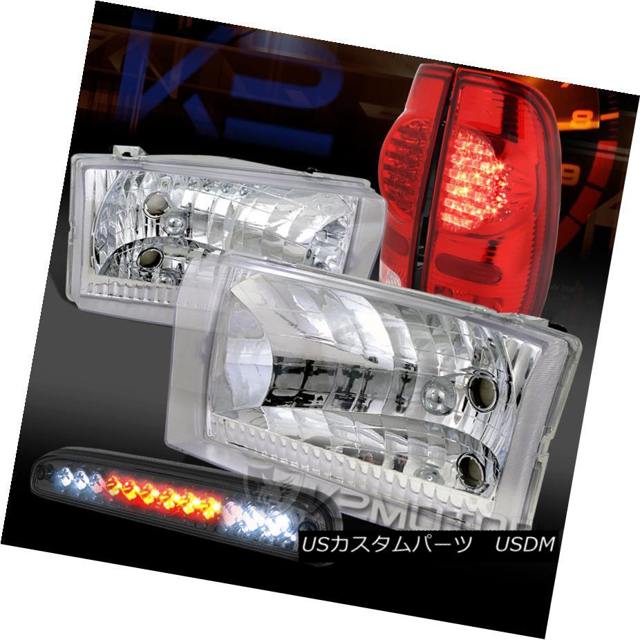 テールライト 99-04 F250 SuperDuty Chrome Headlights+Smoke LED 3rd Brake+Red LED Tail Lamps 99-04 F250 SuperDuty Chromeヘッドライト+ Smo ke LED第3ブレーキ+赤色LEDテールランプ