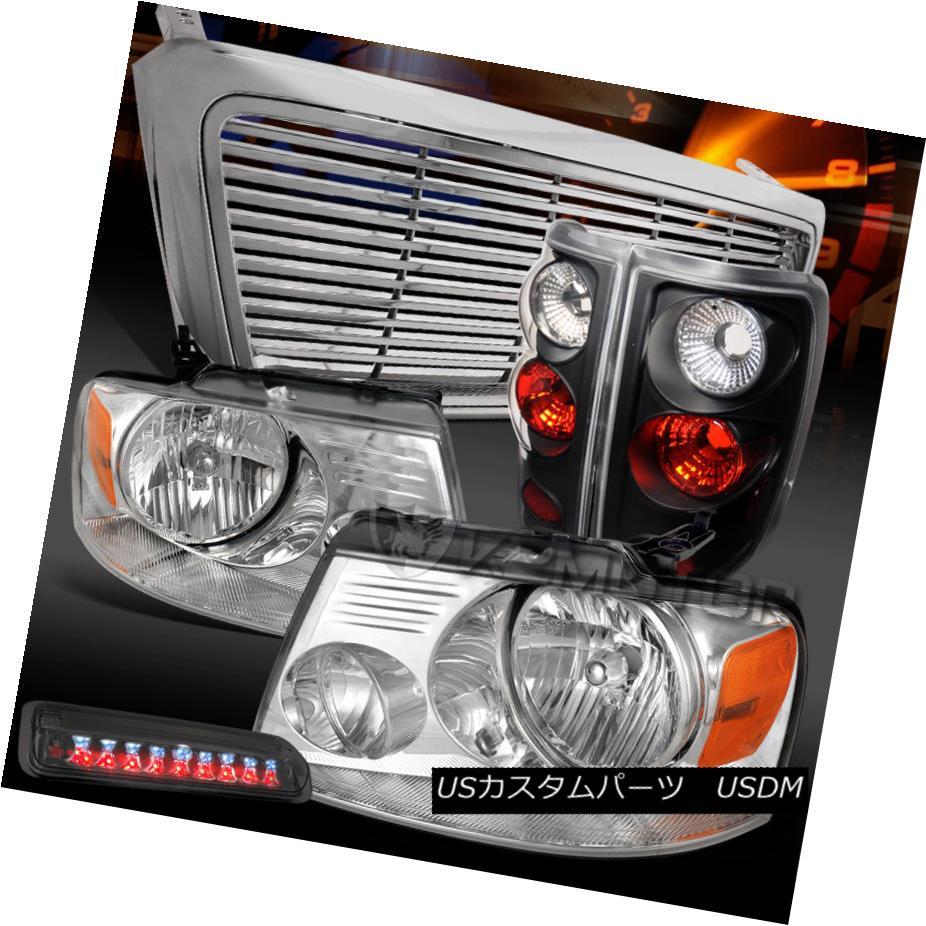 車用品 バイク用品 >> パーツ 価格交渉OK送料無料 ライト ランプ テールライト 04-08 Ford F150 lle 3rd F150クロームヘッドライト+グリップ 上質 Lamps +スモークLED第3ブレーキ+ブラックテールランプ Tail Brake+Black LED Headlights+Grille+Smoke Chrome