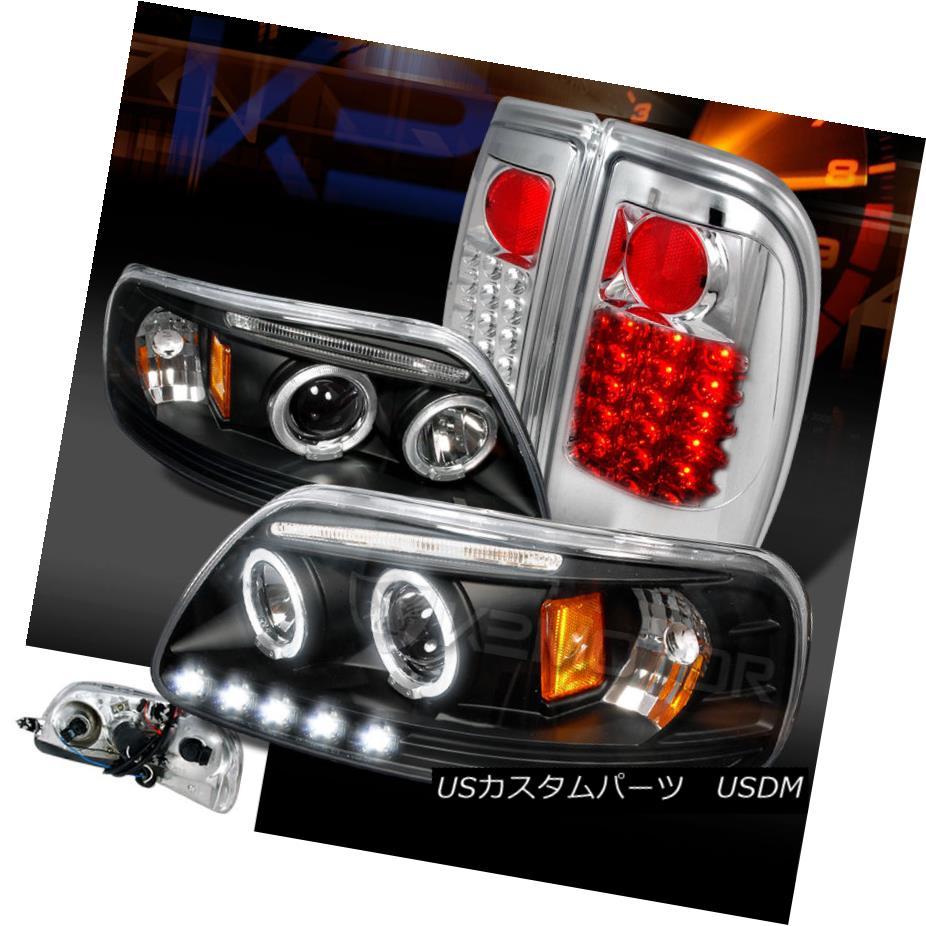 テールライト 97-03 F150 Black Dual Halo Projector Headlights+Clear LED Rear Tail Lamps 97-03 F150ブラックデュアルハロープロジェクターヘッドライト+ Cle ar LEDリアテールランプ