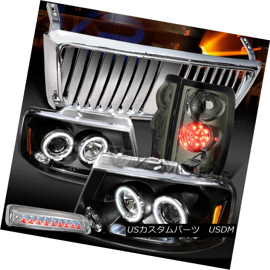 テールライト 04-08 F150 Black Halo Headlight+Chrome Front Grille+3rd Stop+Tint LED Tail Lamps 04-08 F150ブラックハローヘッドライト+クロ meフロントグリル+ 3ストップ+ティントLEDテールランプ