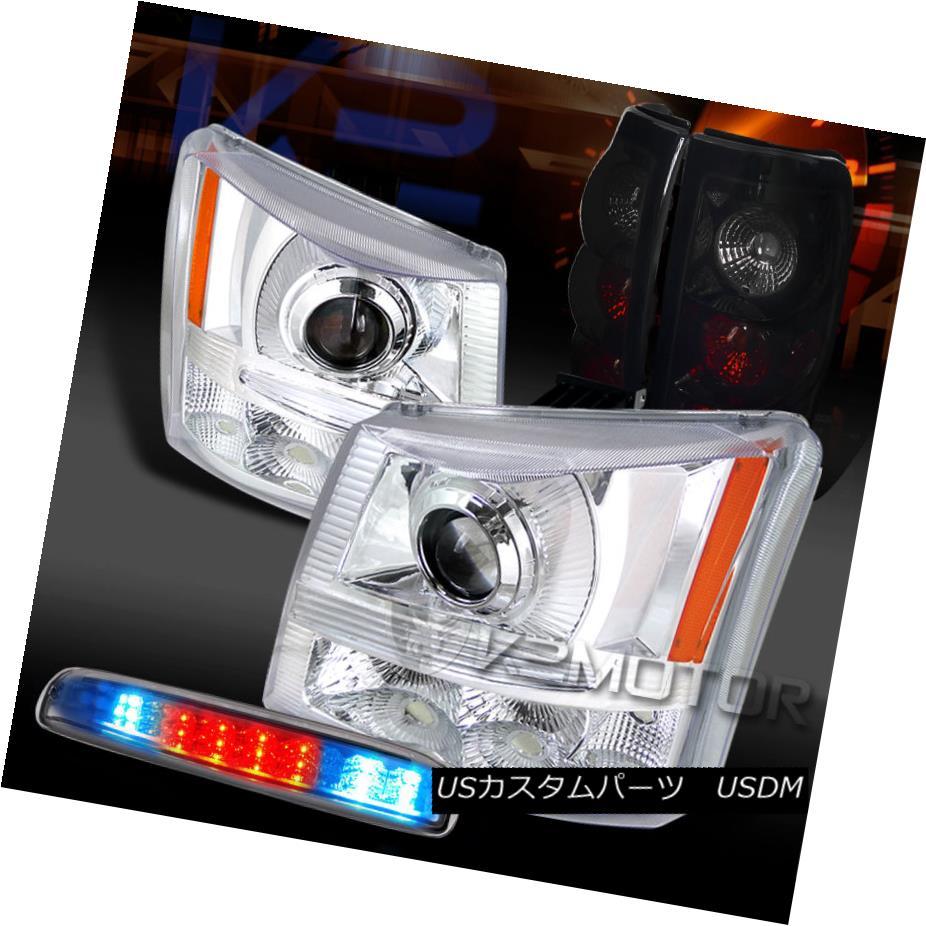 テールライト 03-06 Silverado Clear Projector Headlights+LED 3rd Stop+Piano Black Tail Lamps 03-06 Silveradoクリアプロジェクターヘッドライト+ LED第3ストップ+ピアノブラックテールランプ