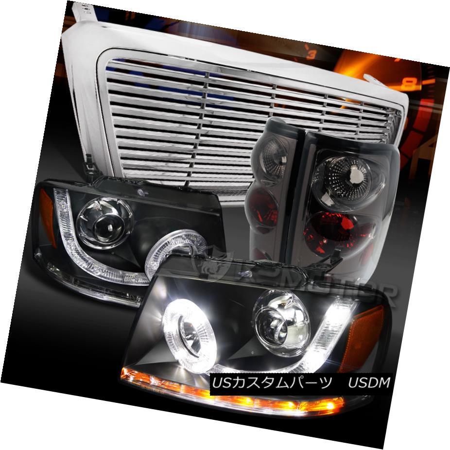 テールライト 04-08 F150 Black SMD LED Halo Projector Headlight+Billet Grille+Smoke Tail Lamp 04-08 F150ブラックSMD LEDハロープロジェクターヘッドライト+ビル et Grille +スモークテールランプ
