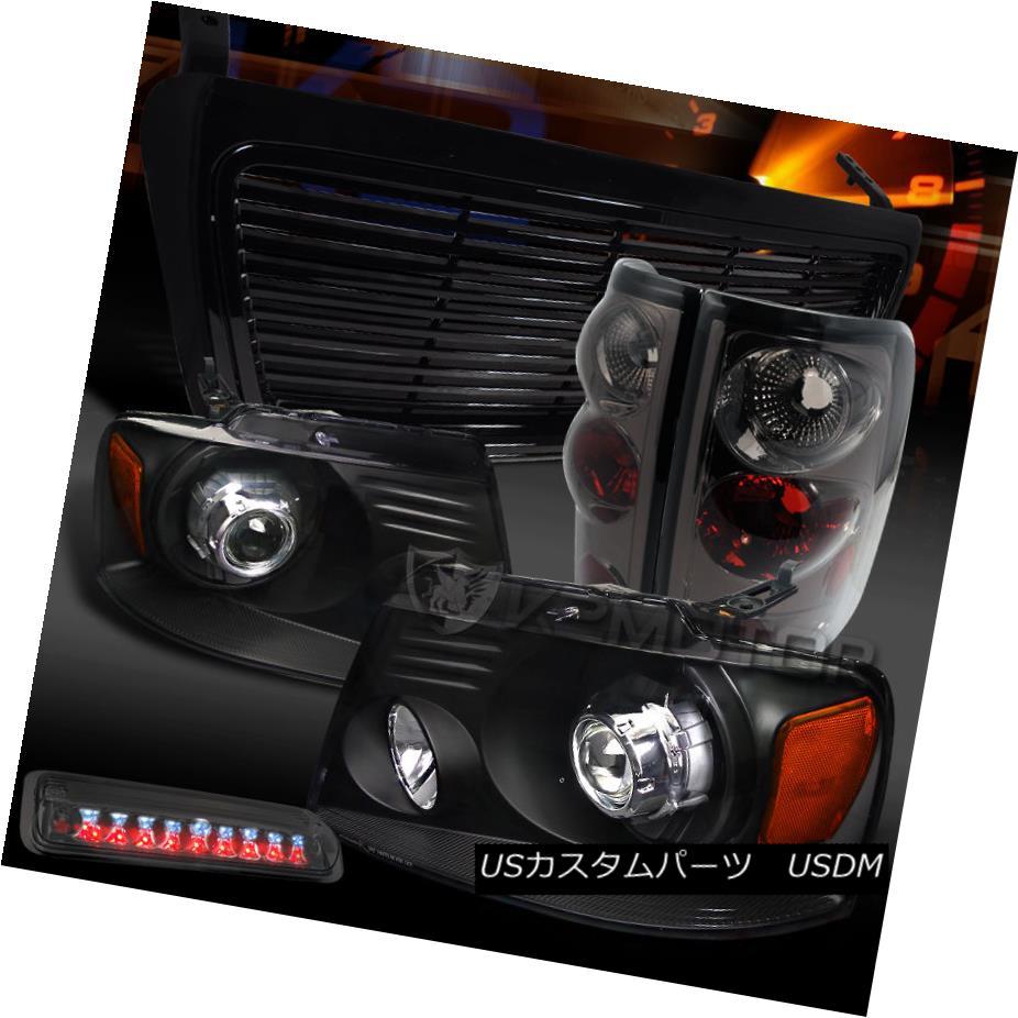 テールライト 04-08 F150 Black Projector Headlights+Grille+Smoke Tail Lamps+LED 3rd Brake 04-08 F150ブラックプロジェクターヘッドライト+グリル lle +煙テールランプ+ LED第3ブレーキ