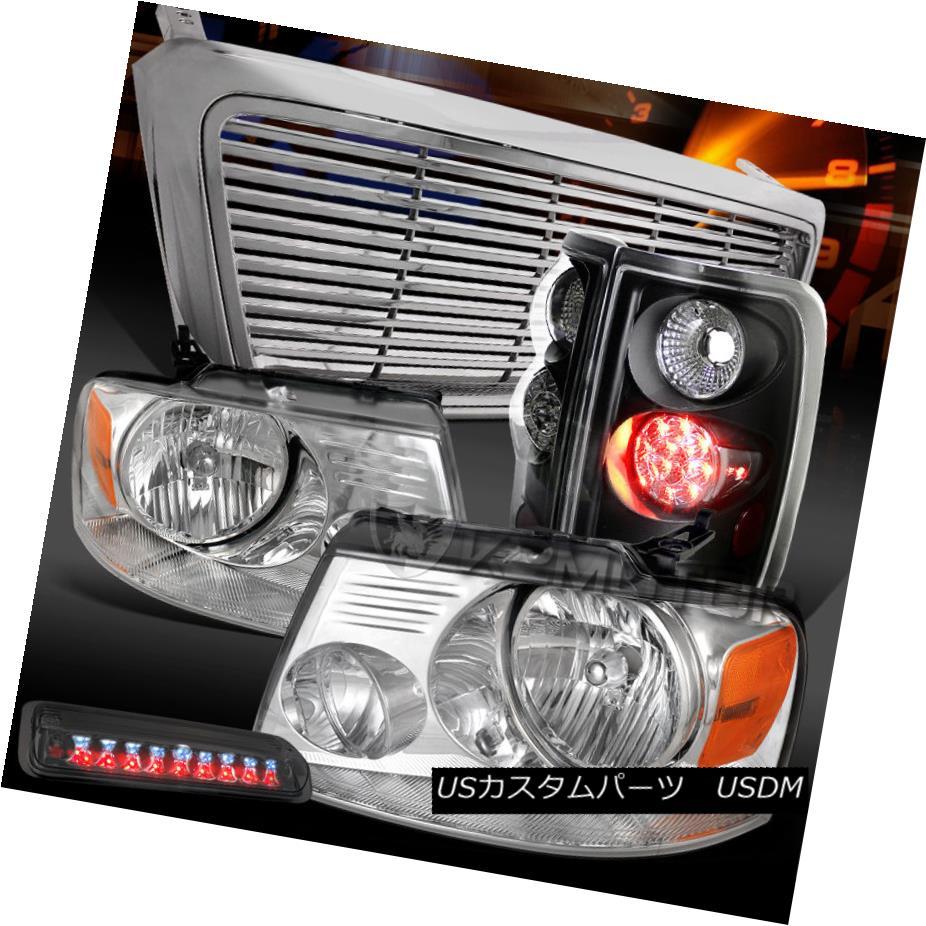テールライト 04-08 F150 Chrome Headlights+Grille+Smoke LED 3rd Brake+Black LED Tail Lamps 04-08 F150クロームヘッドライト+グリップ lle +スモークLED第3ブレーキ+ブラックLEDテールランプ