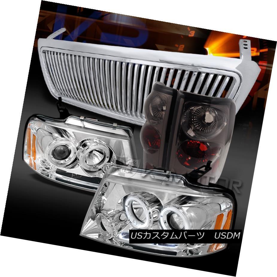 車用品 バイク用品 >> パーツ ライト ランプ テールライト 04-08 F150 Chrome Tail Lamps 高級な ticalグリル+煙テールランプ 引き出物 Halo Projector Grille+Smoke Ver LED F150クロームハローLEDプロジェクターヘッドライト+ Headlights+Vertical