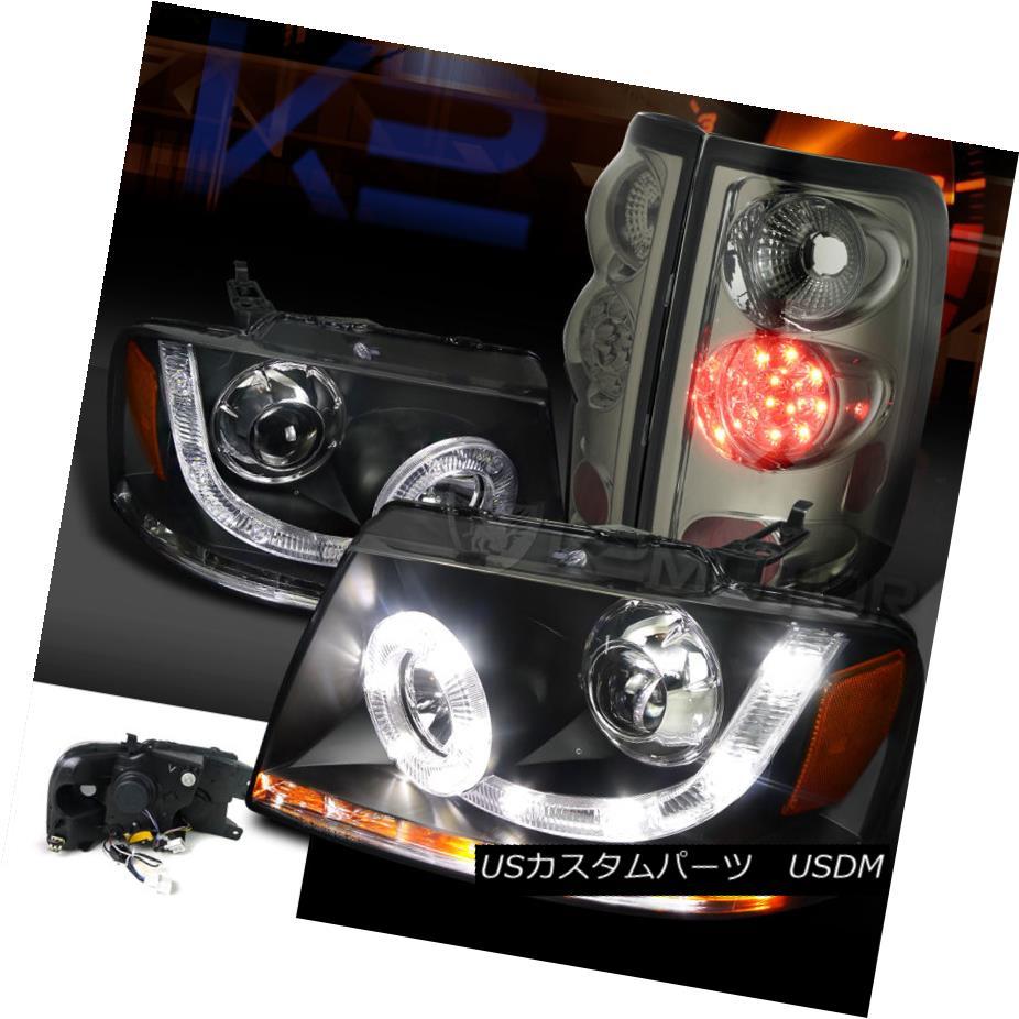 テールライト 04-08 F150 Black SMD LED Halo Signal Projector Headlights+Smoke LED Tail Lamps 04-08 F150ブラックSMD LEDハロー信号プロジェクターヘッドライト+スモール ke LEDテールランプ