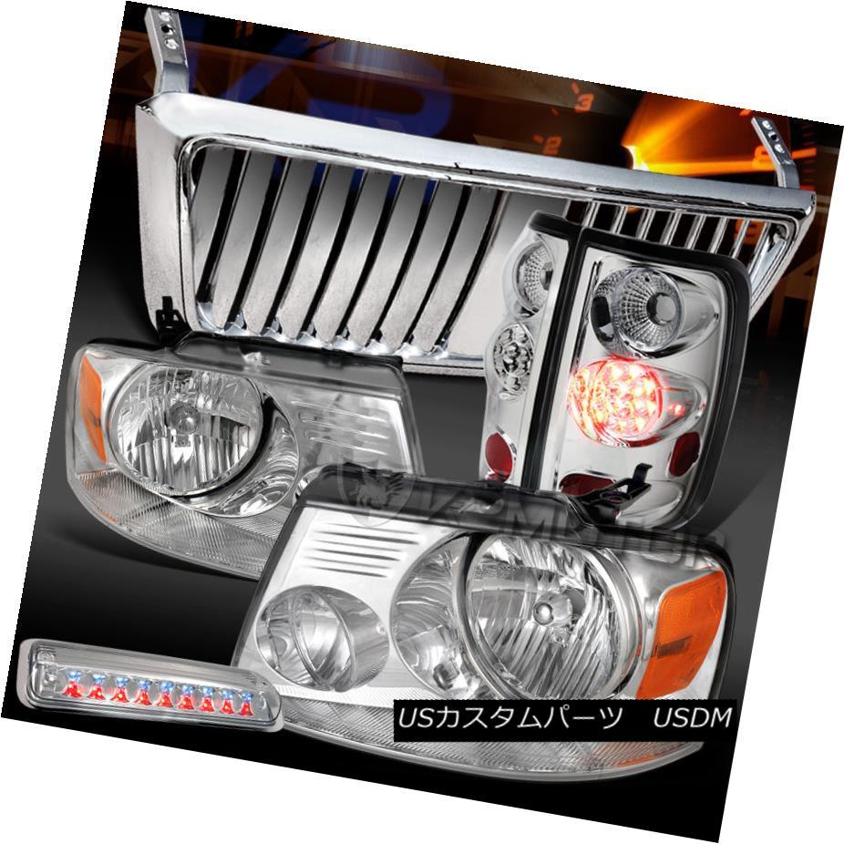 テールライト 04-08 F150 Chrome Headlights+LED Tail 3rd Brake Lamps+Front Grille 04-08 F150クロームヘッドライト+ LEDテール3rdブレーキランプ+フロントグリル