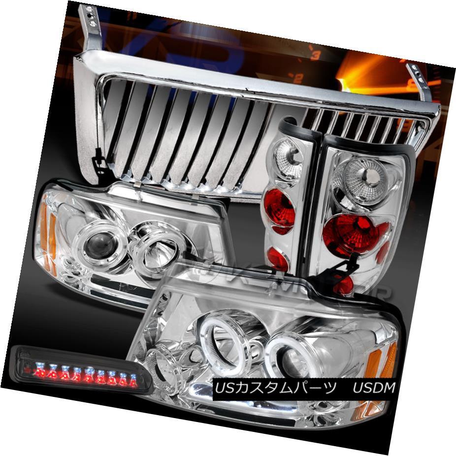 テールライト 04-08 F150 Chrome LED Halo Headlights+Front Grille+Tail Lamp+Smoke 3rd Brake 04-08 F150クロームLEDハローヘッドライト+ ntグリル+テールランプ+第3ブレーキ煙