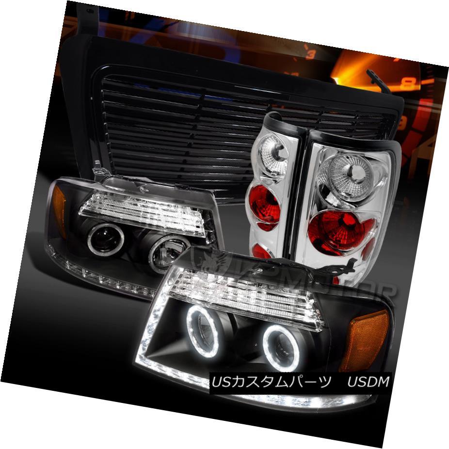 テールライト 04-08 F150 Black Halo LED Projector Headlights+Grille+Clear Tail Lamps 04-08 F150ブラックHalo LEDプロジェクターヘッドライト+グリル lle +クリアテールランプ
