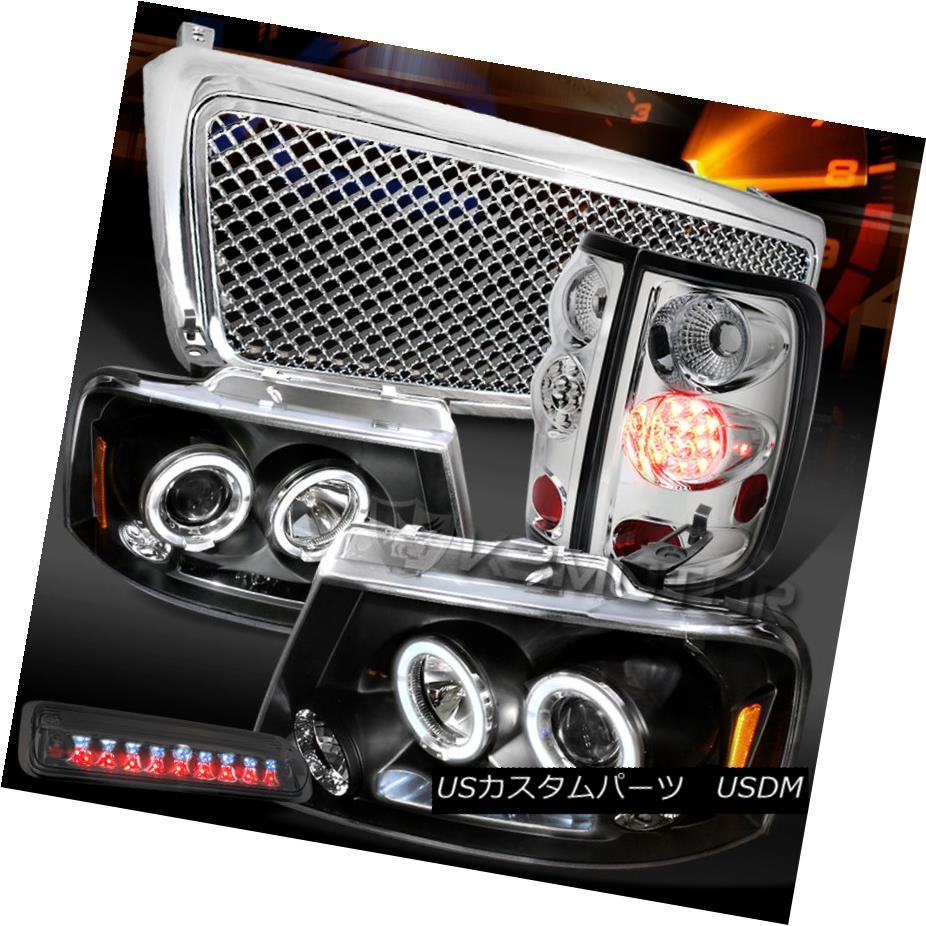 テールライト 04-08 F150 Black Halo Headlights+Chrome LED Tail Tint 3rd Brake Lamp+Mesh Grille 04-08 F150ブラックハローヘッドライト+ Chr ome LEDテールティント第3ブレーキランプ+メッシュグリル